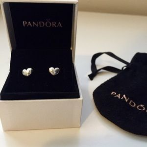 PANDORA SILVER HEART EARRINGS